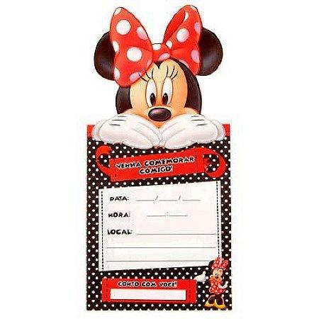 Convite de Aniversário - Minnie Vermelha - 8 unidades