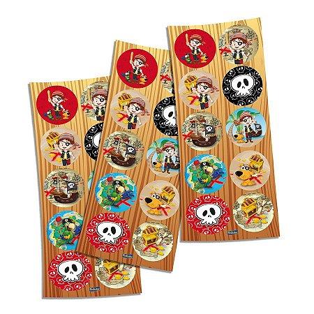 Adesivo Redondo Piratas - 30 unidades