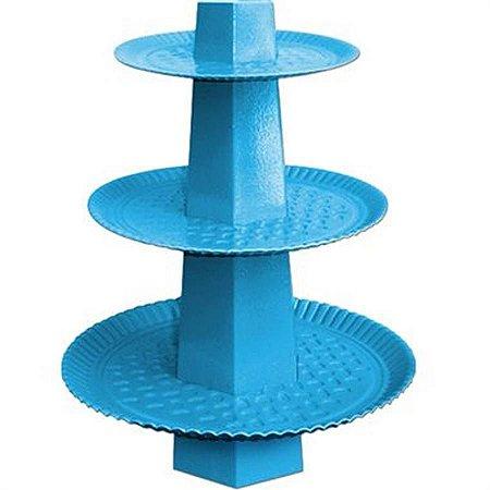 Baleiro Descartável - 3 Andares - Azul Claro