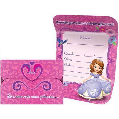 Convite de Aniversário Princesinha Sofia - 08 und