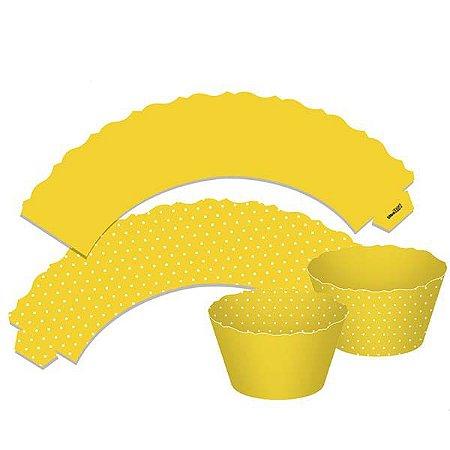 Saia para Cupcake Dupla Face - Amarelo - 12 unidades
