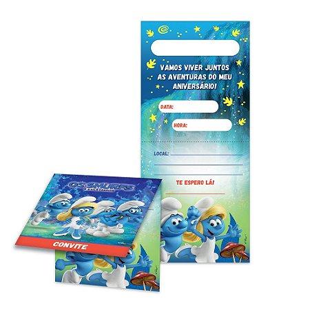 Convite de Aniversário Smurfs- 08 unidades