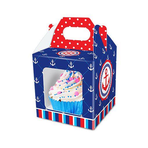 Caixa para Cupcake Marinheiro - 08 unidades