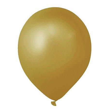 Balão Látex 9 Polegadas - Dourado - 50 unidades