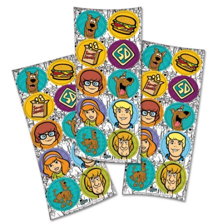 Adesivo Redondo Decorativo - Scooby Doo - 30 unidades