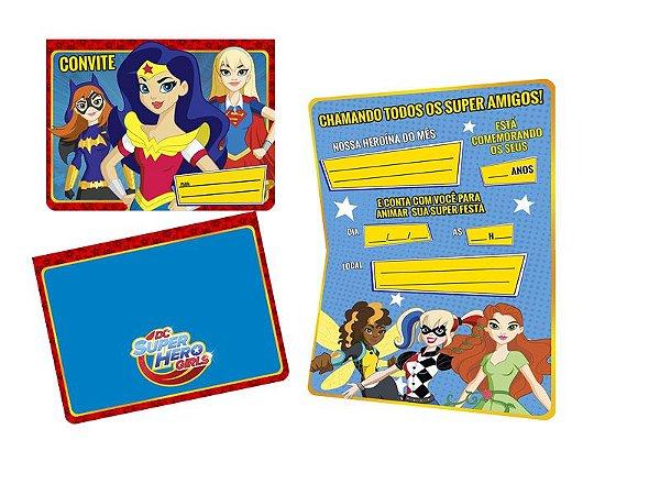 Convite de Aniversário Super Hero Girl- 08 unidades