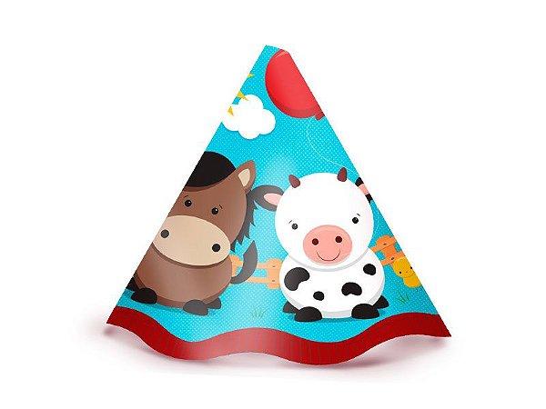 Chapéu de Aniversário Fazendinha- Animais - 8 unidades