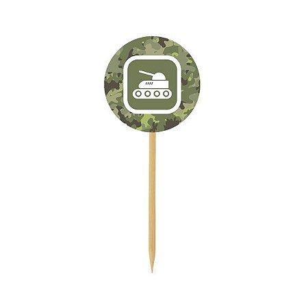 Pick para doces e Cupcake - Canhão Militar - 10 und
