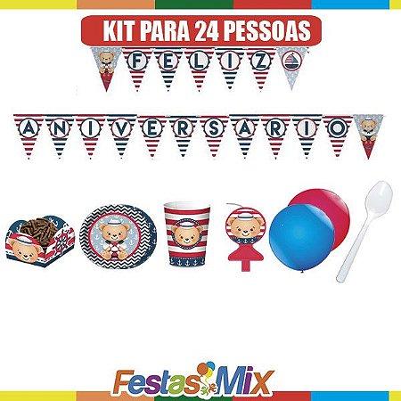 Kit Festa Ursinho Marinheiro - 24 pessoas