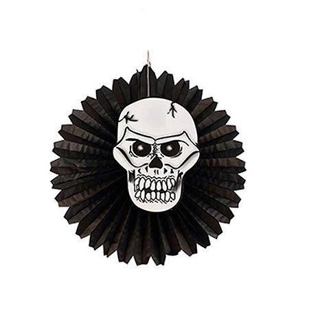 Leque de Papel Halloween -Caveira- 45 cm
