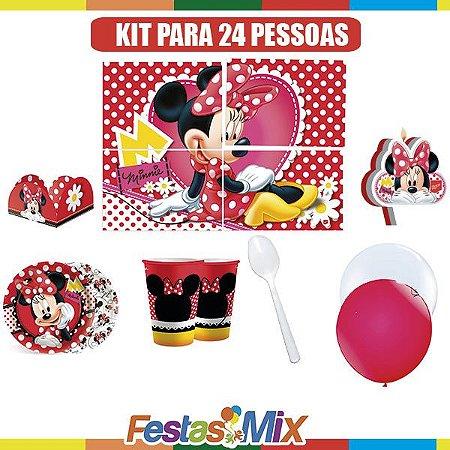 Kit Festa Infantil- Minnie Vermelha - 24 pessoas