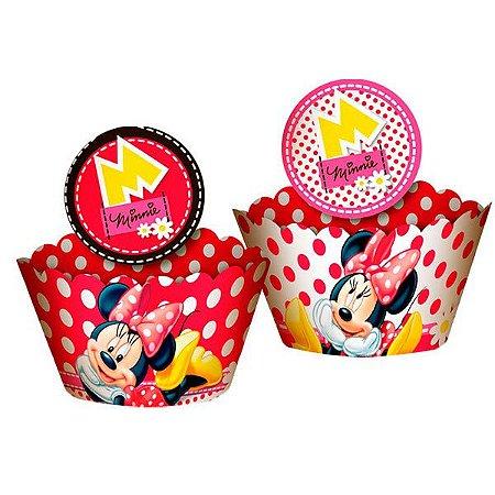 Saia de Cupcake Wrapper - Minnie Vermelha- 12 unidades