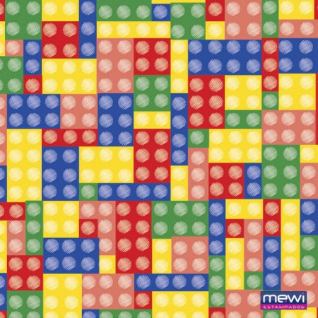 TNT Estampado - Lego Colorido com Pino - 01 Metro