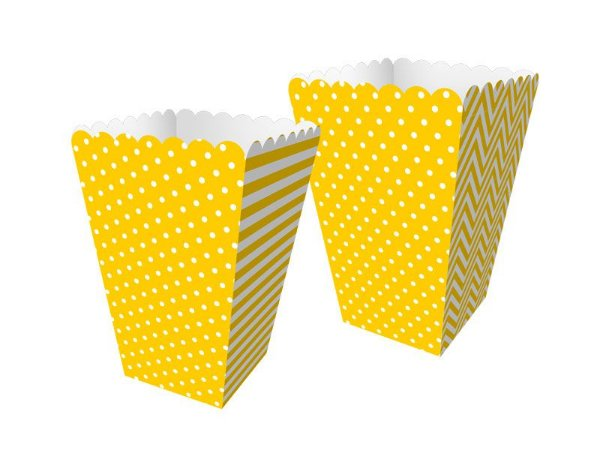 Mini Caixa de Pipoca - Festa Colors Amarelo - 08 unidades