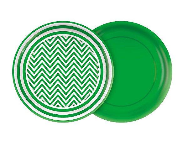 Prato de Papel- Festa Colors -Chevron Verde - 08 unidades