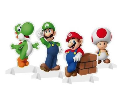 Enfeite Decorativo Papel- Super Mario Bros - 04 unidades