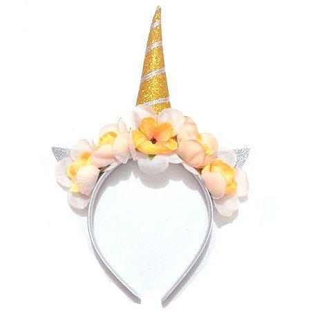 Tiara Unicórnio com Flores - Amarelo