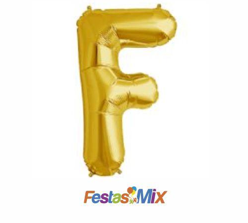 Balão Metalizado 40 cm - Dourado - Letra F