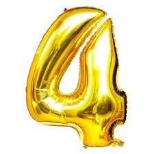 Balão Metalizado 40cm Número - Dourado -  4