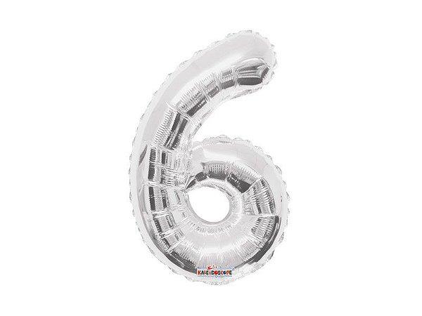 Balão Metalizado 35cm Número - Prata - 6
