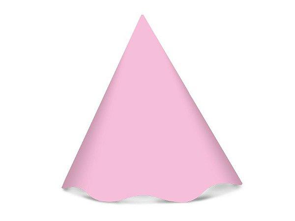 Chapéu de Aniversário Liso - Rosa Bebê - 08 unidades