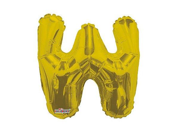 Balão Metalizado 33 cm - Dourado - Letra W