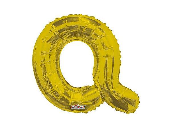 Balão Metalizado  22 cm  - Dourado - Letra Q