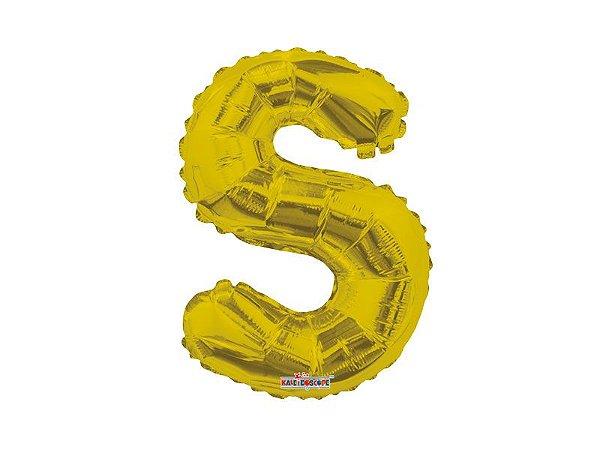 Balão Metalizada 20 cm - Dourada - Letra S