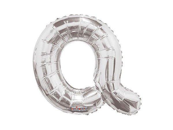Balão metalizado 33 cm- Prateado-  Letra Q