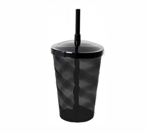 Copo Twister 400 ml - Fumê - Com tampa e canudo