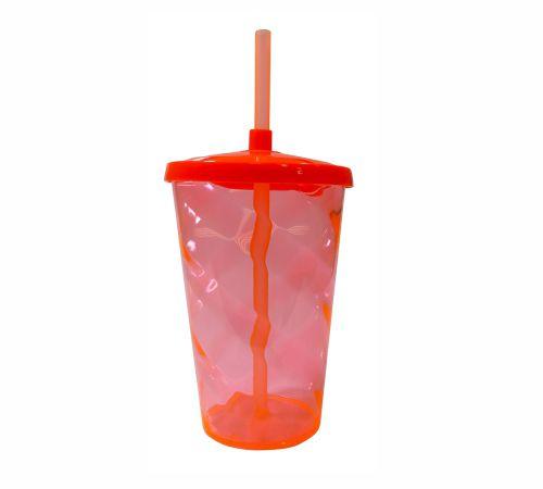 Copo Twister 400 ml - Vermelho - Com tampa e canudo
