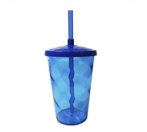 Copo Twister 400 ml - Azul escuro - Com tampa e canudo