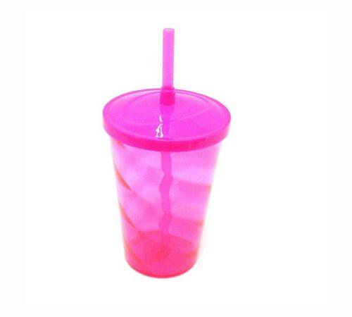 Copo Twister 400 ml - Rosa fluor - Com tampa e canudo