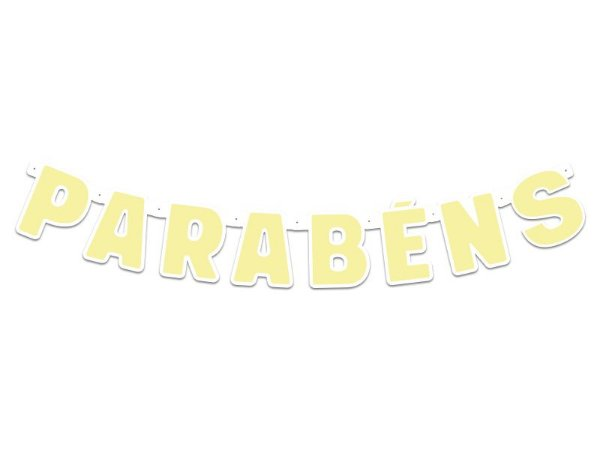 Faixa Parabéns - Festa Colors - Amarelo Pastel