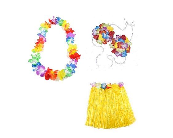 Fantasia Carnaval Feminina  - Havaiana - Amarelo