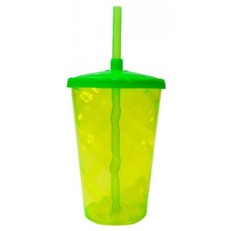 Copo Twister 400 ml - Verde Flúor - Com tampa e canudo