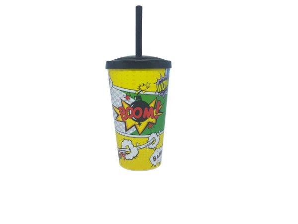 Copo Plástico co tampa e Canudo- 550 ml - Boom