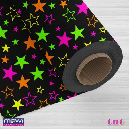 Tnt Estampado - Estrelas Neon -1 metro