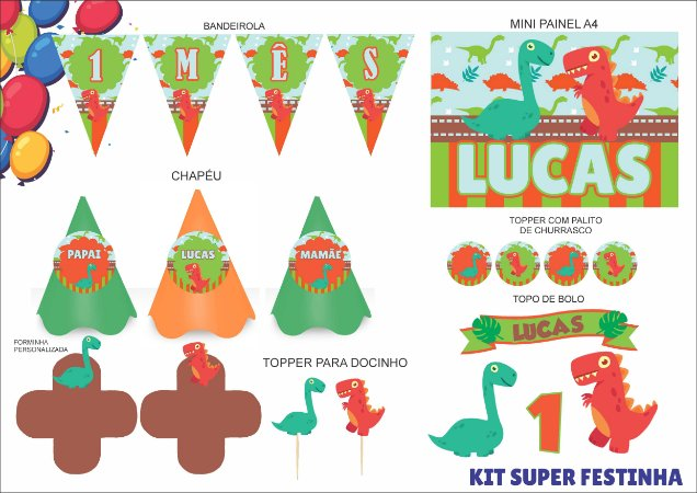 Kit Super Festinha - Mensário - Dinossauro - 7 itens