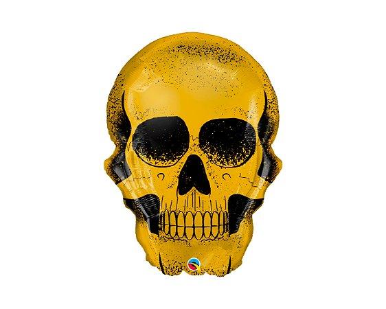 Balão Metalizado Shape - Crânio Dourado - 36 Polegadas