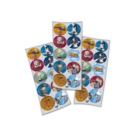 Adesivos Redondo - Naruto -  03 Cartelas