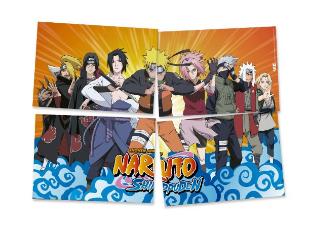 Painel 4 Folhas - Naruto