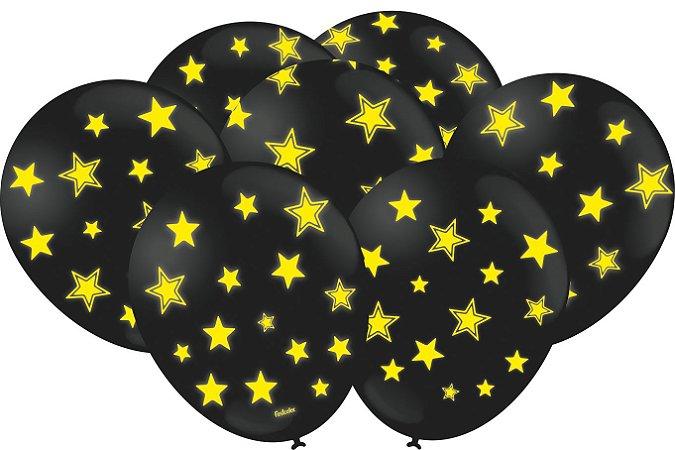Balão Latéx - Neon Preto com Amarelo - 25 Unidades