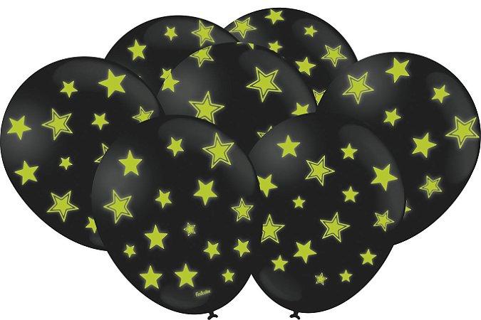 Balão Latéx - Neon Preto com Verde - 25 Unidades