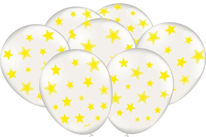 Balão Latéx - Neon Branco com Amarelo - 25 Unidades