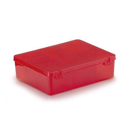 Caixa Organizadora para Guloseimas - 6 divisórias - Vermelha