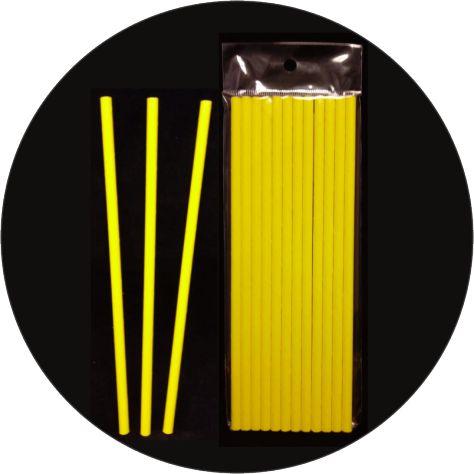 Canudo De Papel Amarelo Liso - 12 Unidades