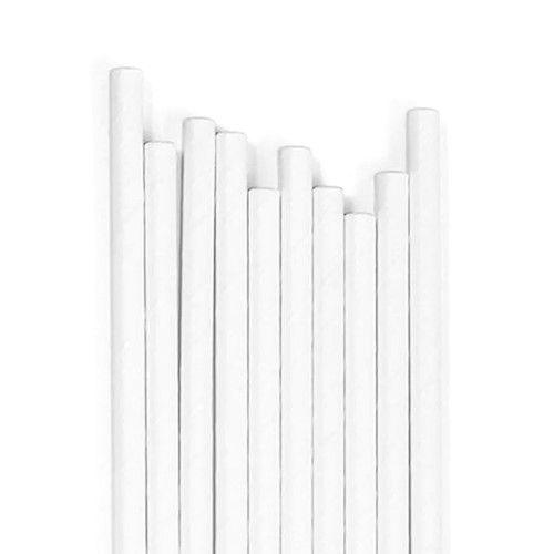 Canudo De Papel - Branco Liso - 12 Unidades
