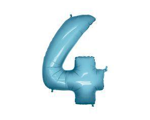 Balão Metalizado 70cm - Azul Claro - Número 4