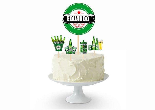 Topo de Bolo - Personalizado - Heineken